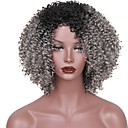 cheap Costume Wigs-Synthetic Wig Afro Layered Haircut Synthetic Hair Ombre Hair Gray Wig Women's Short Capless Black / Grey