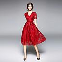 رخيصةأون السلاسل-فستان نسائي متموج أناقة الشارع ميدي أحمر لون سادة V رقبة مناسب للخارج