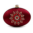 cheap Clutches & Evening Bags-Women's Bags Polyester Evening Bag Crystals / Flower Floral Print Purple / Dark Green / Wine