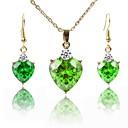 זול סטים של תכשיטים-בגדי ריקוד נשים סט תכשיטים - ציפוי זהב קלסי, אופנתי לִכלוֹל שרשרת ירוק עבור חתונה / יום הולדת