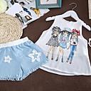 זול שמלות לבנות-סט של בגדים כותנה קיץ ללא שרוולים יומי דפוס בנות לבן