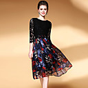 cheap Party Headpieces-YHSP Women's Street chic A Line Sheath Swing Dress - Floral Patchwork Lace Ruched