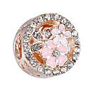 זול חרוזים-תכשיטים DIY 10 יח חרוזים אבן נוצצת סגסוגת כסף זהב ורד עגול חָרוּז 0.45 cm עשה זאת בעצמך שרשראות צמידים