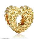 זול חרוזים-תכשיטים DIY 1 יח חרוזים סגסוגת זהב כסף לב חָרוּז 0.2 cm עשה זאת בעצמך שרשראות צמידים