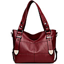 cheap Pressed Powders-Women's Bags PU(Polyurethane) Shoulder Bag Buttons Gray / Purple / Wine