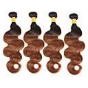 billige Ombré hårforlængelser-4 pakker Brasiliansk hår Krop Bølge Jomfruhår / Menneskehår Menneskehår, Bølget 8-30 inch Menneskehår Vævninger Lugtfri / Fest / Ekstention Menneskehår Extensions