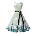 tanie Sukienki dla dziewczynek-Dzieci Dla dziewczynek Moda miejska Codzienny / Wyjściowe Nadruk Bez rękawów Bawełna Sukienka Jasnoniebieski 140 / Śłodkie
