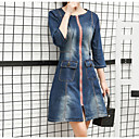 cheap Eyelashes-Women's Street chic Denim Dress - Solid Colored