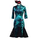 זול הלבשה לריקודים לטיניים-ריקוד לטיני שמלות בגדי ריקוד נשים הצגה Chinlon אלסטיין חוט נמתח תחרה דוגמא \ הדפס שרוול 4\3 טבעי שמלה