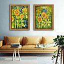 cheap Rolled Canvas Prints-Landscape Floral/Botanical Illustration Wall Art,PVC Material With Frame For Home Decoration Frame Art Living Room Bedroom Kitchen Dining