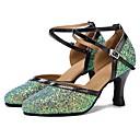 זול ארנקים-נעליים מודרניות Paillette / דמוי עור סנדלים / עקבים קשתות עקב מותאם מותאם אישית נעלי ריקוד ירוק / שחור