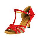 baratos Sapatos de Dança Latina-Mulheres Sapatos de Dança Latina Flocagem / Camursa Sintética Sandália Salto Cubano Personalizável Sapatos de Dança Vermelho