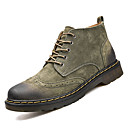 cheap Men's Boots-Men's Combat Boots Leather / Cowhide Fall / Winter Comfort Boots Mid-Calf Boots Gray / Brown / Green