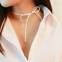 זול שרשרת אופנתית-בגדי ריקוד נשים שרשראות מחרוזת - פפיון מתוק חמוד לבן, חום שרשראות תכשיטים עבור יומי, בית הספר
