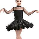 preiswerte Kindertanzkleidung-Latein-Tanz Kleider Leistung Kunstleder Pailletten Spitze Horizontal gerüscht Langarm Hoch Kleid