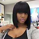 זול פיאות סינטטיות ללא כיסוי-שיער ללא שיער שיער אנושי Kinky Straight תספורת בוב עם פוני שיער טבעי הוכן באמצעות מכונה פאה