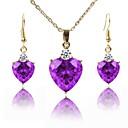 זול סטים של תכשיטים-בגדי ריקוד נשים סט תכשיטים - ציפוי זהב קלסי, אופנתי לִכלוֹל שרשרת סגול עבור חתונה / מתנה