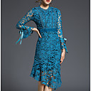 cheap Pillow Covers-Women's Going out Sophisticated Flare Sleeve Cotton Sheath Dress - Solid Colored Blue, Lace / Summer / Fall