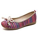 זול מוקסינים לנשים-בגדי ריקוד נשים בד אביב נוחות נעליים ללא שרוכים שטוח בוהן עגולה אדום / ירוק / כחול
