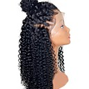 povoljno Perike s ljudskom kosom-Ljudska kosa Perika s prednjom čipkom bez ljepila Lace Front Perika Srednji dio stil Brazilska kosa Kinky Curly Priroda Crna Perika 130% Gustoća kose s dječjom kosom Prirodna linija za kosu / Kovrčav