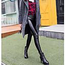 baratos Botas Femininas-Mulheres Algodão Flanelada Legging - Sólido Cintura Média