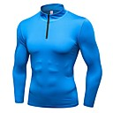 cheap Running Shirts, Pants & Shorts-Men's Running Baselayer - Blue, Grey, Dark Navy Sports Solid Colored Sweatshirt Exercise & Fitness, Outdoor Exercise, Running Long Sleeve Activewear Breathability / Winter