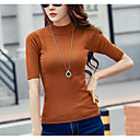 cheap Women's Sweaters-Women's Going out Short Sleeve Pullover - Solid Colored Turtleneck