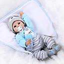 povoljno Lutkice-NPK DOLL Autentične bebe Beba 22 inch Silikon Vinil - vjeran Ručni primijenjeni trepavice Umjetna implantacija Plave oči Dječjom Uniseks / Djevojčice Igračke za kućne ljubimce Poklon / CE