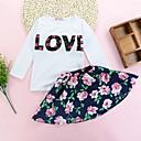 זול מדבקות קיר-סט של בגדים כותנה שרוול ארוך דפוס אחיד / פרחוני / דפוס ליציאה פעיל בנות פעוטות / חמוד