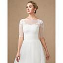 זול עליוניות לחתונה-חצי שרוול תחרה / טול חתונה / מסיבה\אירוע ערב כיסויי גוף לנשים עם אפליקציות / כפתורים / תחרה בולרו