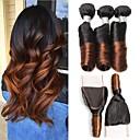 billige Ombre hairextensions-3 pakker Peruviansk hår Krøllet Ubehandlet hår Nyanse 12-28 tommers Nyanse Hårvever med menneskehår 8a Hairextensions med menneskehår