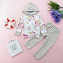 cheap Girls' Clothing Sets-Toddler Girls' Casual Daily Striped / Floral Long Sleeve Regular Regular Cotton Clothing Set White