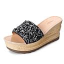 זול מסכות-בגדי ריקוד נשים נעליים PU אביב / סתיו נוחות כפכפים & כפכפים עקב טריז שחור / כסף