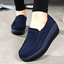 cheap Women's Slip-Ons & Loafers-Women's Shoes Cowhide Summer / Fall Comfort Loafers & Slip-Ons Wedge Heel Round Toe Black / Dark Blue / Red