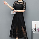 cheap Jewelry Sets-Women's Cotton Sheath Lace Dress - Solid Colored Black High Waist