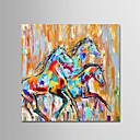 זול ציורי שמן-ציור שמן צבוע-Hang מצויר ביד - חיות חיות / פשוט / מודרני ללא מסגרת פנימית / בד מגולגל