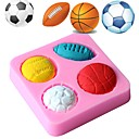 cheap Holiday Deals-Soccer Basketball Football Tennis Ball Silicone Mold Chocolate Mould Fondant Baking Tool Cake Decoration