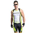 cheap Running Shirts, Pants & Shorts-Nuckily Men's Short Sleeve Triathlon Tri Suit - Green Geometic Bike Anatomic Design, Ultraviolet Resistant, Breathable Polyester / Spandex