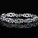 זול צמידים-בגדי ריקוד נשים יהלום סינתטי צמיד - מצופה כסף צמידים כסף עבור חתונה / Party
