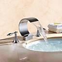 povoljno Slavine za umivaonik-Kupaonica Sudoper pipa - Waterfall Chrome Slavine s tri otvora Dvije ručke tri rupe / Brass