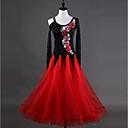 זול מגנים לטלפון & מגני מסך-ריקודים סלוניים שמלות בגדי ריקוד נשים הדרכה Chinlon אורגנזה אפליקציות קריסטלים / אבנים נוצצות שרוול ארוך גבוה שמלה