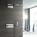 זול ברזים למקלחת-עכשווי מותקן על הקיר מקלחת גשם מפל מים שפורפרת יד כלולה תרמוסטטי שסתום קרמי ארבעה מטפל בשלושה חורים כרום, ברז למקלחת