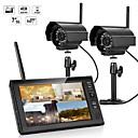 billige Trådløst CCTV System-7 tommers tft digitale 2.4g trådløse kameraer lydvideo baby monitorer 4ch quad dvr sikkerhetssystem med ir natt lys to kameraer