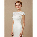 cheap Wedding Wraps-Short Sleeve Lace Wedding / Party / Evening Women's Wrap With Lace / Button Shrugs