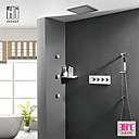 זול ברזים למקלחת-עכשווי מותקן על הקיר מקלחת גשם שפורפרת יד כלולה תרמוסטטי שסתום קרמי ארבע ידיות חמישה חורים כרום, ברז למקלחת