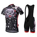 preiswerte Radtrikot und Shorts / Hosen Sets-Malciklo Herrn Kurzarm Fahrradtrikot mit Trägerhosen - Weiß Schwarz Britisch Fahhrad Kleidungs-Sets, 3D Pad, Rasche Trocknung,