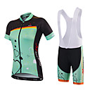 cheap Cycling Jersey & Shorts / Pants Sets-Malciklo Women's Short Sleeve Cycling Jersey with Shorts - Mint Green Green / Black Floral Botanical Bike Jersey Bib Tights Padded Shorts / Chamois Breathable Quick Dry Anatomic Design Ultraviolet