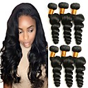cheap Tape in Hair Extensions-6 Bundles Brazilian Hair Loose Wave Virgin Human Hair Natural Color Hair Weaves Human Hair Weaves Human Hair Extensions Women's