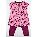 זול חולצות לבנות-סט של בגדים כותנה קיץ שרוולים קצרים יומי מנוקד בנות יום יומי פעיל פול פוקסיה