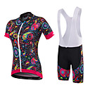 cheap Cycling Jersey & Shorts / Pants Sets-Malciklo Women's Short Sleeve Cycling Jersey with Bib Shorts - White / Black British / Floral / Botanical Bike Clothing Suit, Quick Dry, Anatomic Design, Breathable Lycra / Stretchy / SBS Zipper